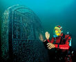 Franck Goddio with the intact engraved Thonis-Heracleion stele of 1.90 m height, commissioned by Nectanebo I (378-362 BC) and almost identical to the Naukratis stele in the Egyptian Museum in Cairo. Its text names the site where it was erected: Thonis.