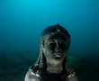 One of the finest finds in Abukir Bay is the remarkable dark stone statue of a 3rd century Ptolemaic queen, very probably Cleopatra II or Cleopatra III, wearing the tunic of the goddess Isis.