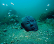 Head of a diorite statue representing a pharaoh of the 26th (Saite) dynasty (664-525 BC).
