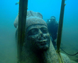 Colossal statue of red granite (5.4 m) representing Hapy, god of the Nile flood and symbol of abundance and fertility decorating the temple of Heracleion. Never before was such a huge statue of Hapy or any other god discovered in Egypt, which indicates Hapy's importance for the Canopic branch, the largest and most important of the Nile branches at the time.