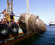 The head of a colossal red granite statue of a pharaoh is raised to the surface. The entire statue measures over 5 metres and was found close to the great temple of sunken Heracleion.