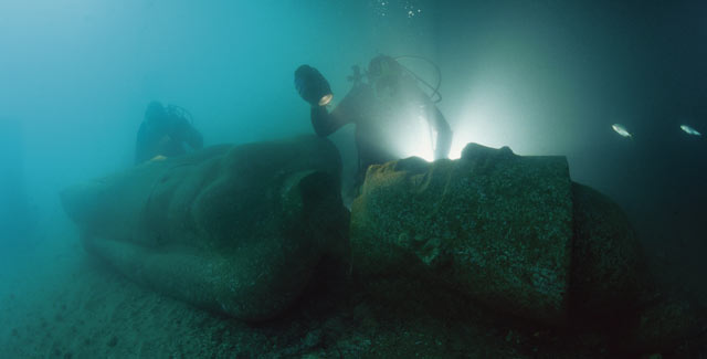 A 5 metres high colossal statue of a pharaoh found in the sunken city of Heracleion.