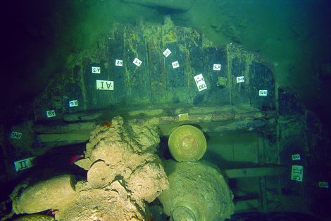 Section of the hull of the Santa Cruz junk. One compartment has been already excavated the other one is still untouched.