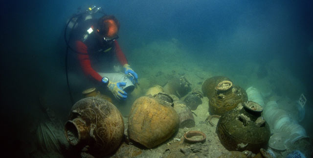 Remnants of the Santa Cruz, a 15th century junk found off the coast of the Philippines.