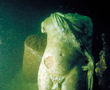 White marble torso of Hermes discovered in the southern branch of the Island of Antirhodos in Alexandria harbour.