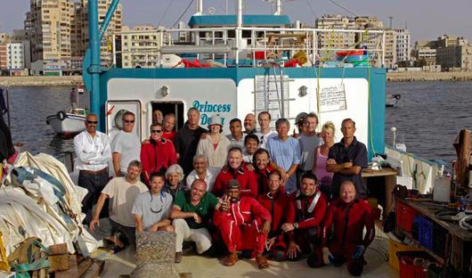 The teams of Franck Goddio and the Supreme Council of Antiquities in Egypt (SCA) in Alexandria's Eastern Harbour, Egypt.